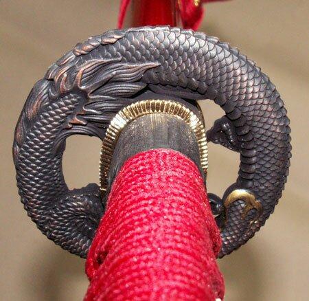 Samurai Katana - Dragon Tsuba Burgundy