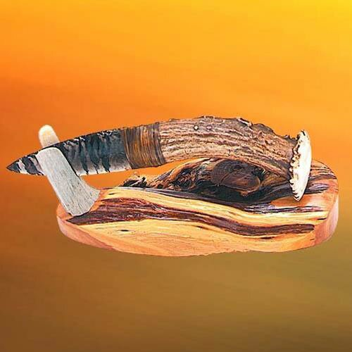Additional photos: Deer Antler Obsidian Blade Knife