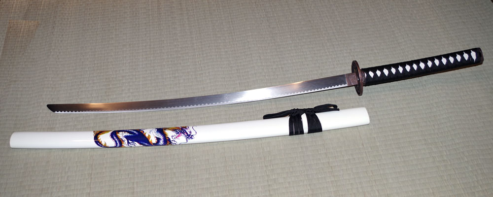 Display Katana White with Dragon Design