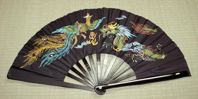 Additional photos: Black Kung Fu Fan - Dragon & Phoenix Black