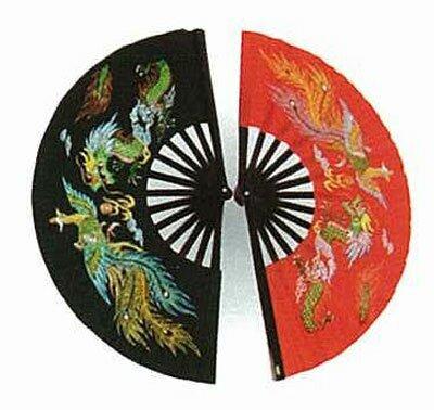 Black Kung Fu Fan - Dragon & Phoenix Black