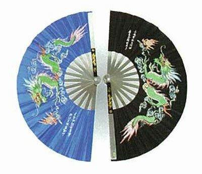 Black Kung Fu Fan - Dragon design