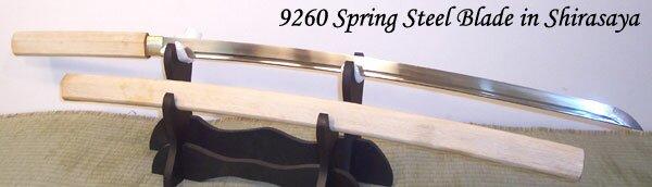Cheness 9260 Silicon Alloy Spring Steel Katana Blade in Shirasaya