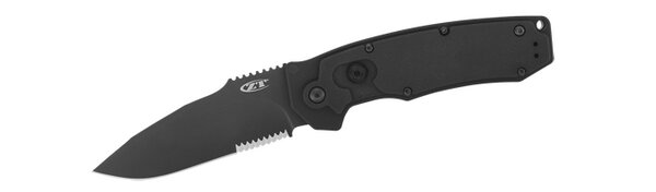 Knife - Zero Tolerance Matte Black Automatic Partial Blade Serration