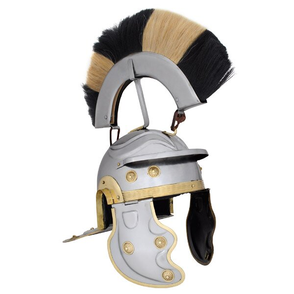 Roman Gallic Helmet, Black and White Crest