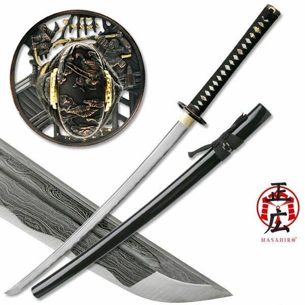 Ten Ryu Damascus Sword Samurai Battle Tsuba