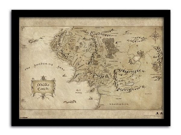 The Hobbit An Unexpected Journey Framed Poster Middle Earth Map