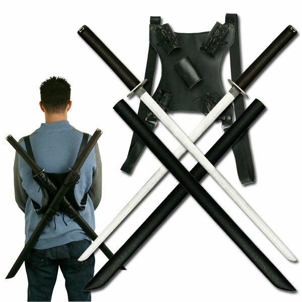 Twin Ninja Katana with Back Strap